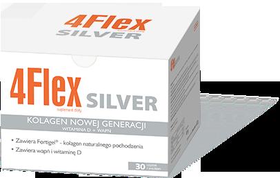 Suplement diety 4Flex silver na stawy. Kolagen nowej generacji z wapniem i witaminą D. Opakowanie 30 saszetek z proszkiem.