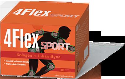 Suplement diety 4Flex sport – łatwo przyswajany kolagen z l-karnityną. Produkt przeznaczony dla osób aktywnych i dbających o zdrowy tryb życia.