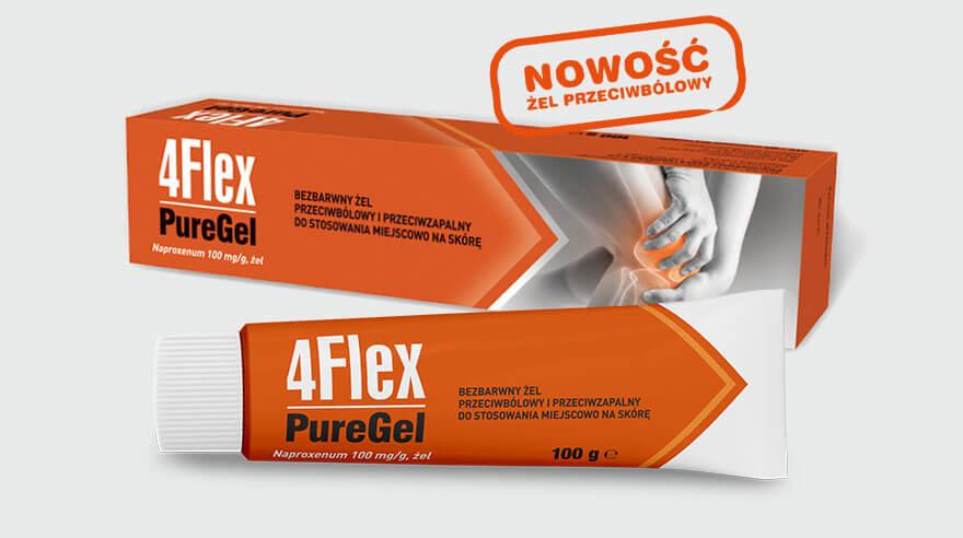 Nowy 4Flex PureGel o działaniu przeciwzapalnym, przeciwbólowym i łagodzącym obrzęki. Żel o bezbarwnej konsystencji przeznaczony dla osób z stanami zapalnymi stawów, osób starszych oraz cierpiących na bóle mięśni i stawów.